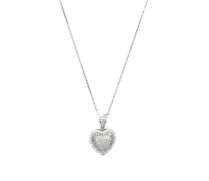 Puffy Cz Heart Necklace