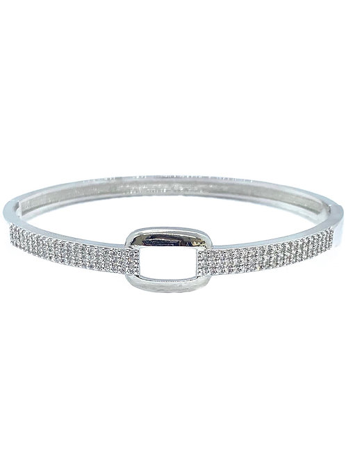 Silver Buckle CZ Bracelet