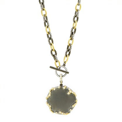 Freida Rothman Midnight I Round Statement Pendant Necklace