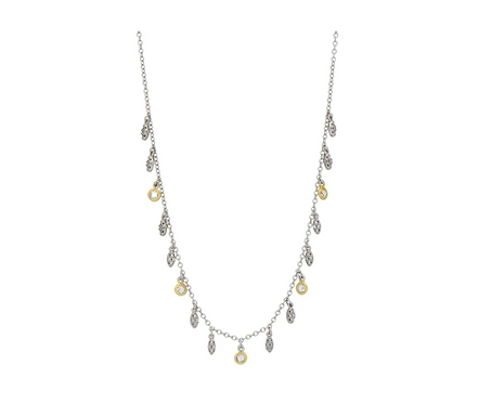 Petals and Pave Charm Necklace