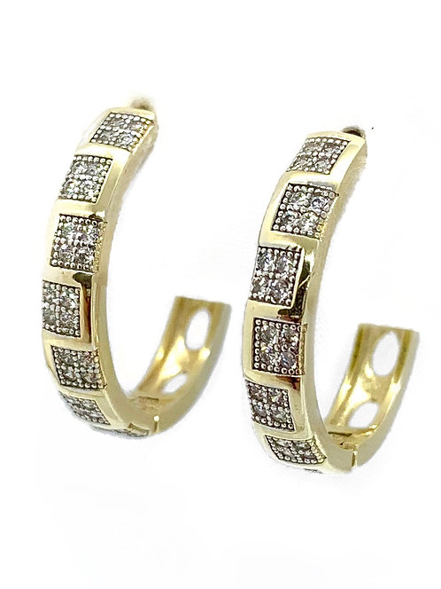 Gold Hoops with CZ Squares