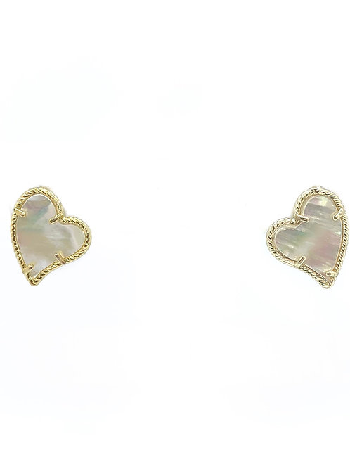Gold Pearl Rope Heart Earrings