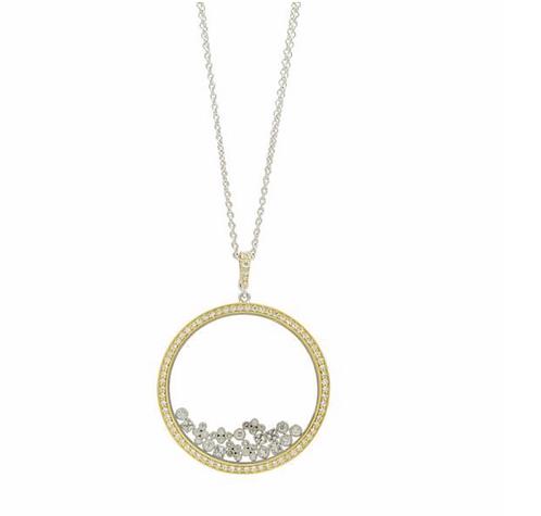 Freida Rothman Fleur Bloom Open Crystal Glass Frame Pendant Necklace