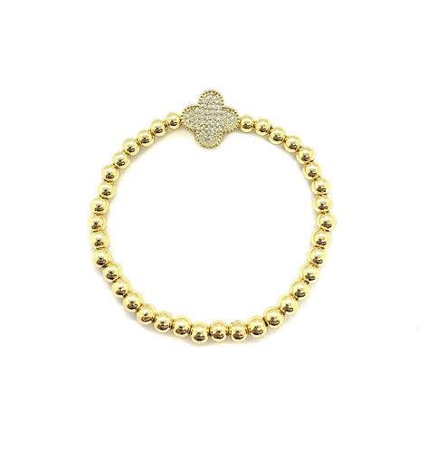 Gold Bead Cz Clover Bracelet