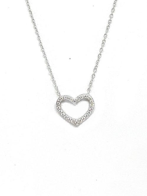 Open Heart Cz Necklace