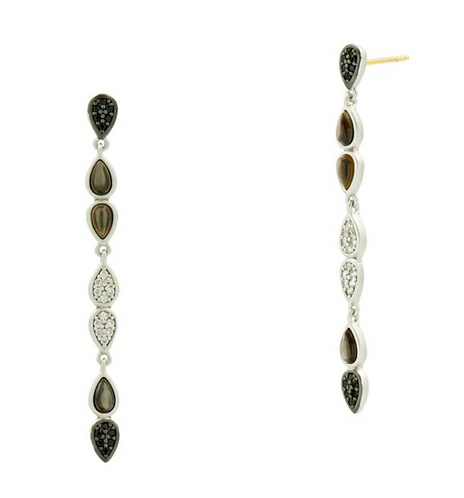 Freida Rothman Black Mother of Pearl and Pavé Linear Earring
