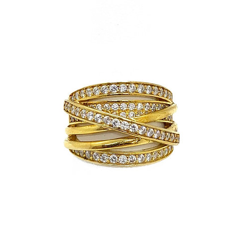 Sterling Gold Cz Band Ring