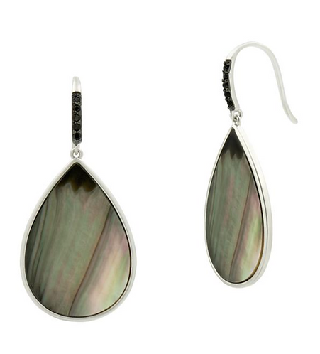 Freida Rothman Grey Mother of Pearl Hook Earring