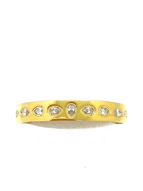 Gold plated stainless bangle with cubic zirconia