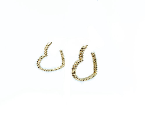 Gold Bead Heart Hoops
