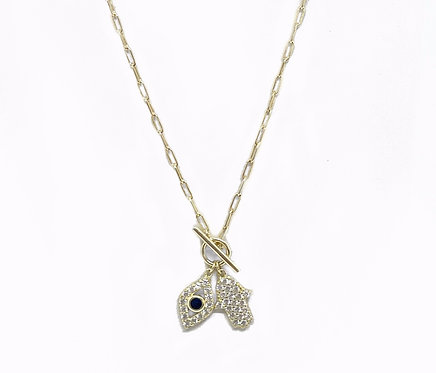 Evil Eye and Hamsa Hand Chain Necklace