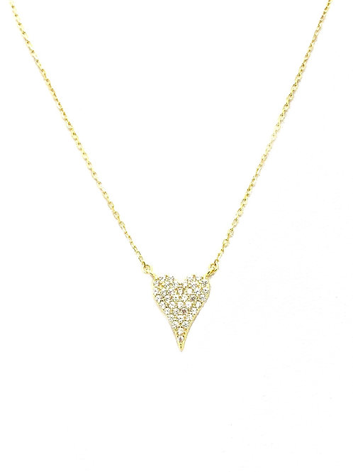 Gold CZ Heart Sterling Necklace