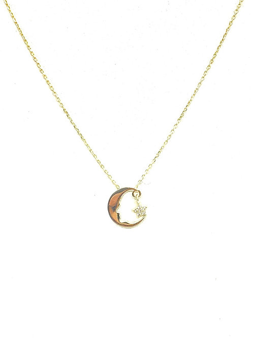Gold Moon and Dangling Star Necklace