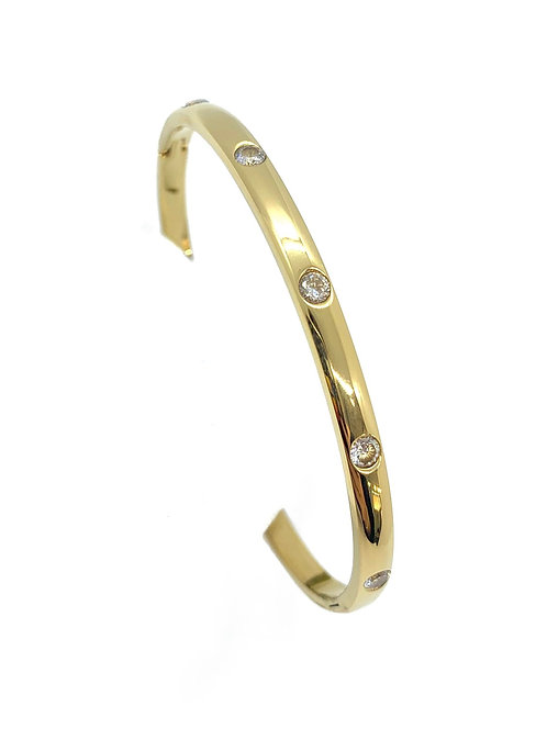 Gold Cz Hinge Bangle