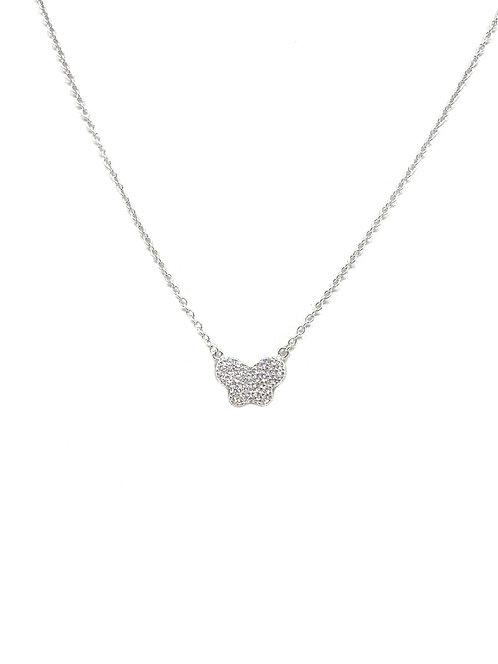 Sterling Cz Medium Butterfly Necklace
