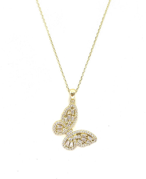 Gold Cz Butterfly Pendant