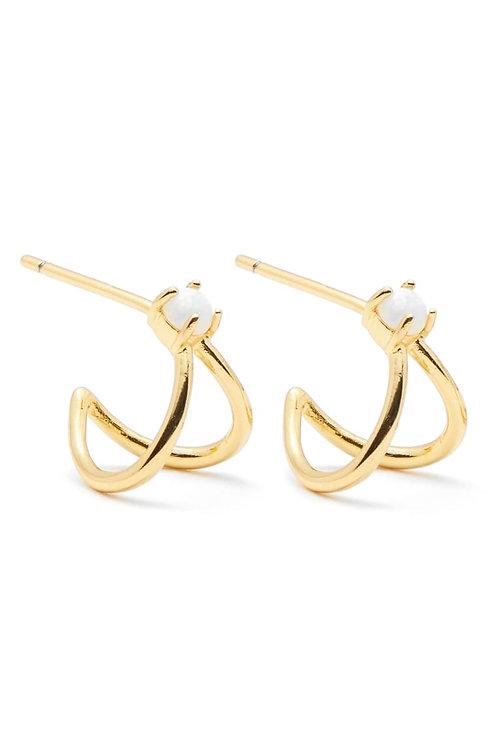 Gorjana Opalite Solitaire Double Huggies Earrings