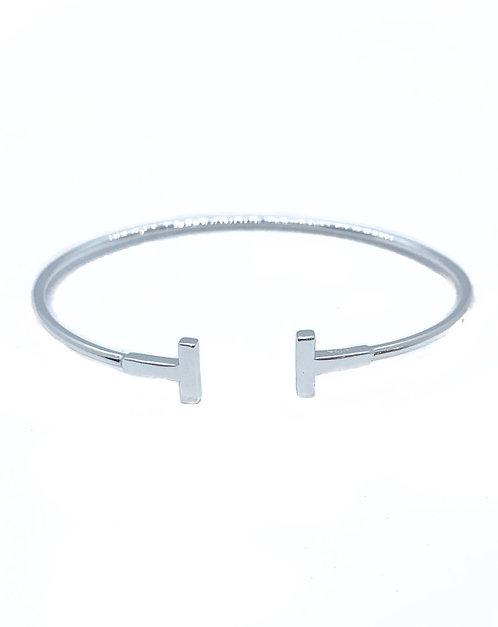 Sterling Silver Skinny Double T Bracelet