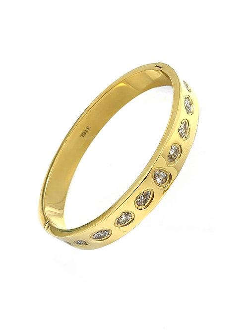 Gold Hinge Pear Cz Bracelet