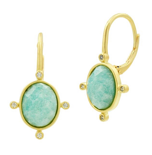 Freida Rothman Amazonite Lever Back Earring