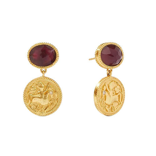 Julie Vos Coin Midi Earrings Bordeaux