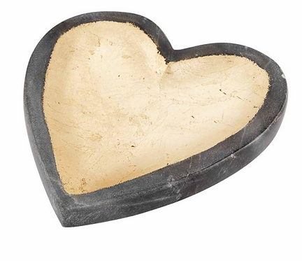 Gray Marble Foil Heart Tray