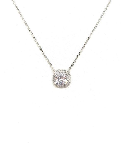 Sterling Center Stone Cz Necklace