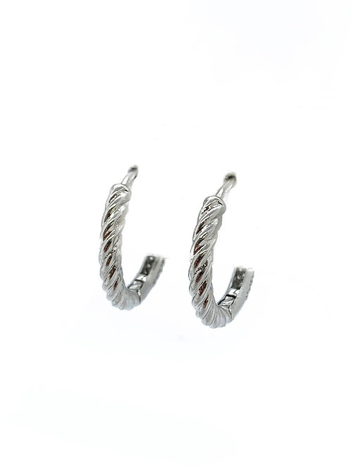 Silver Cord Small Hoops with Cz Back
