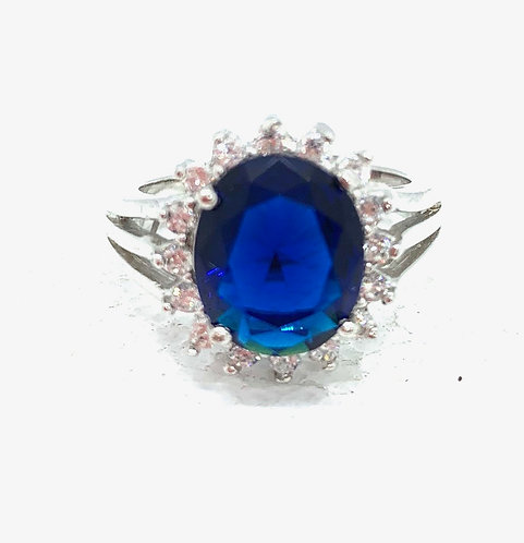 Sapphire Solitaire with Czs