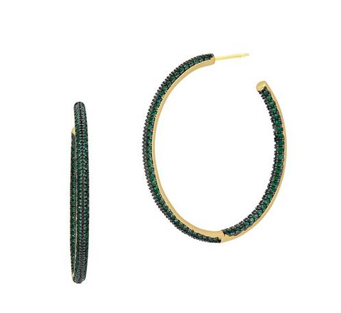 Freida Rothman Emerald Pavé Hoops