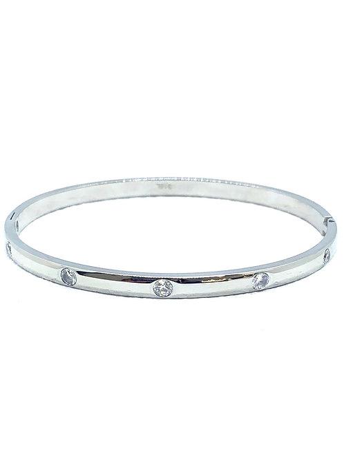 Silver CZ Hinge Bracelet
