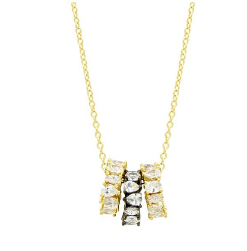 Freida Rothman Midnight Two tone 3 Ring Necklace