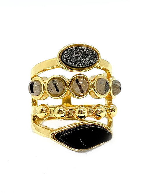 Maria Dolares Onyx 18K Gold Plated Ring