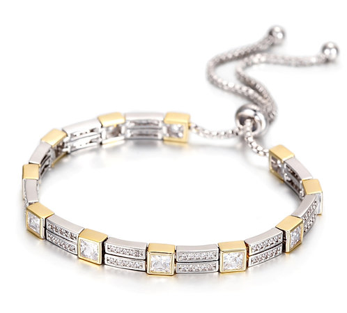 Cz Stainless Toggle Bracelet