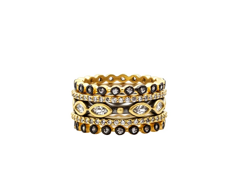 Signature Marquise Station Stack Rings