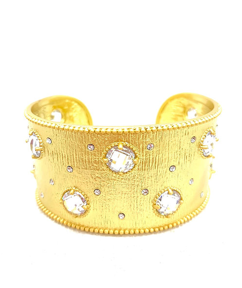 Matte Gold Open Cuff with Czs