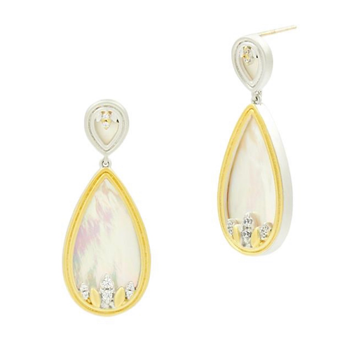 Freida Rothman Fleur Bloom Mother of Pearl Teardrop Earrings