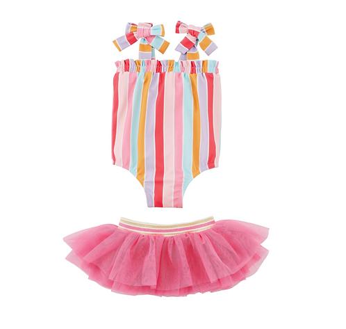 Pink Stripe Toddler Swimsuit & Tutu Set