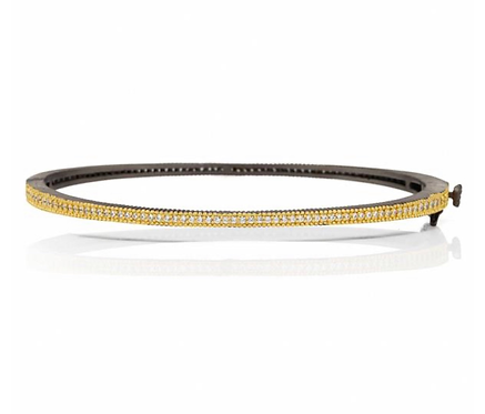 Freida Rothman Signature Thin Pave Hinge Bangle