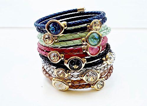 Leather wrap bracelet with Natural CZ