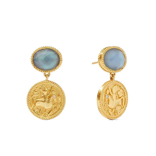 Julie Vos Coin Midi Earrings Iridescent Ice Blue