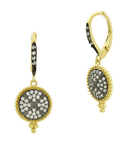 Freida Rothman Signature Pavé Lever Back Earrings