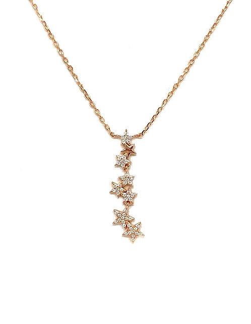 Sterling Rose Gold CZ Star Drop Necklace