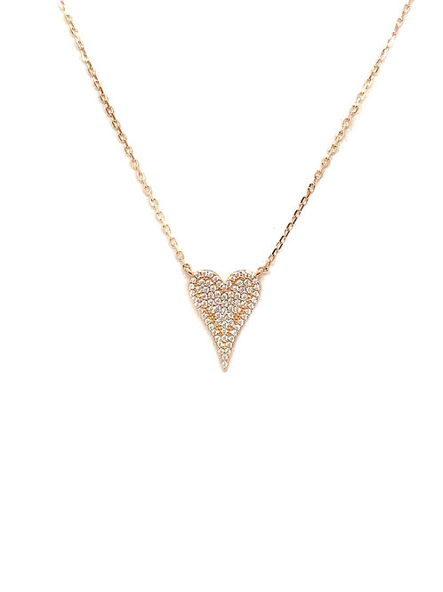 Sterling Rose Gold CZ Heart Necklace
