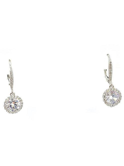 Sterling Dangle Center Stone Cz Earrings