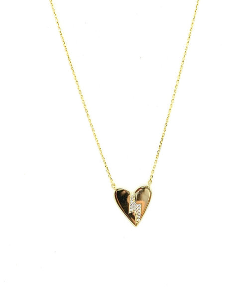 Heart Lightning Bolt Cz Gold Necklace