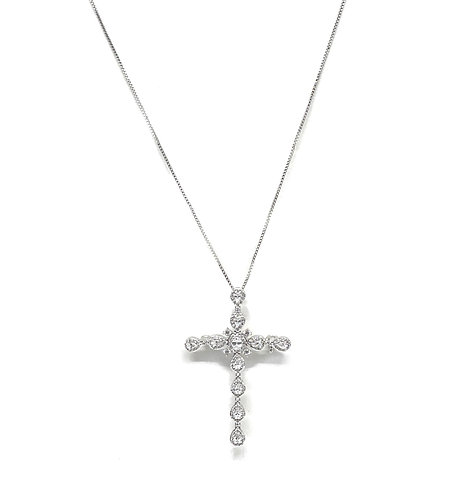 Large Cross Cz Circle Necklace