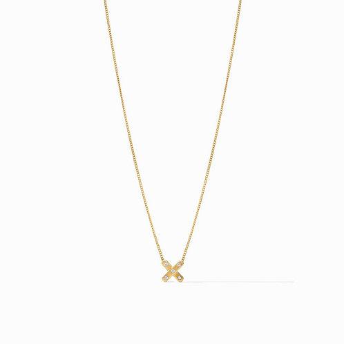 Julie Vos Paris X Charm Necklace Gold CZ