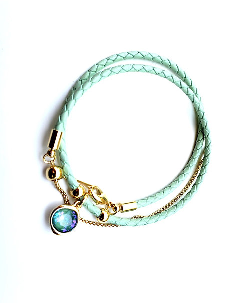 Leather choker with Natural Cz
