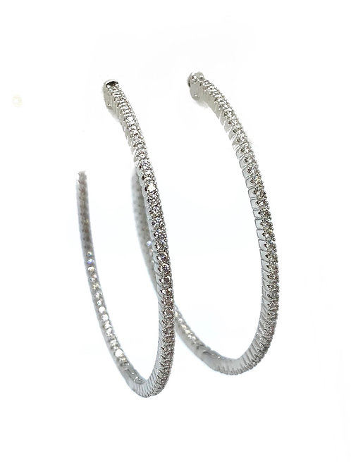 Oval Large Cz Silver Hoops